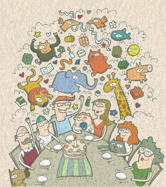 Aniversário ilustração família em torno de Foto stock © VOOK