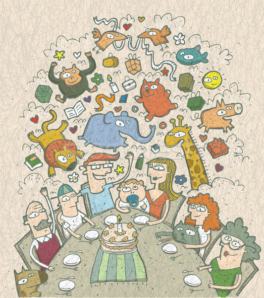 Celebrating Birthday: hand drawn illustration of a family around Stock photo © VOOK