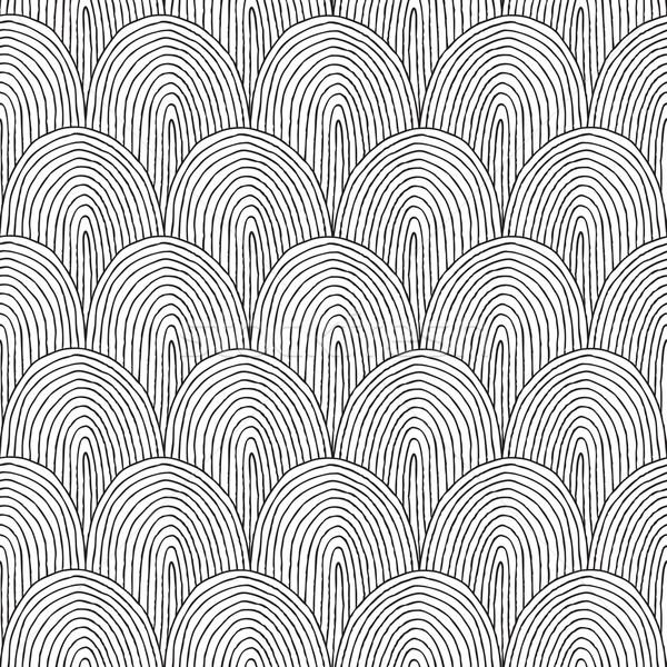 Tájkép domboldal végtelen minta feketefehér kézzel rajzolt tinta Stock fotó © VOOK
