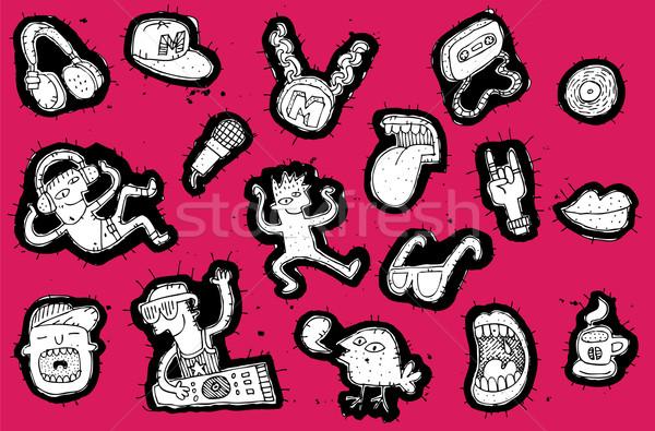 Stock fotó: Musical · elemek · buli · emberek · gyűjtemény · feketefehér