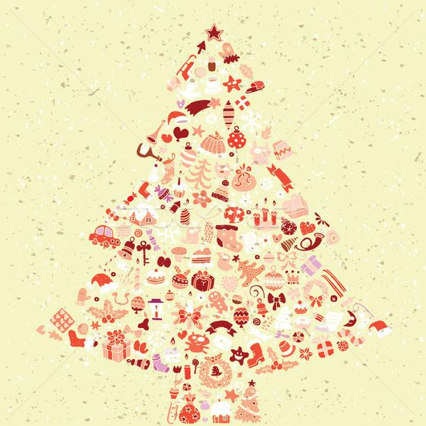 árvore de natal praça cartão coleção pequeno natal Foto stock © VOOK