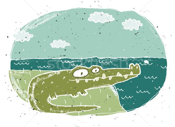 рисованной Гранж иллюстрация Cute крокодила eps8 Сток-фото © VOOK