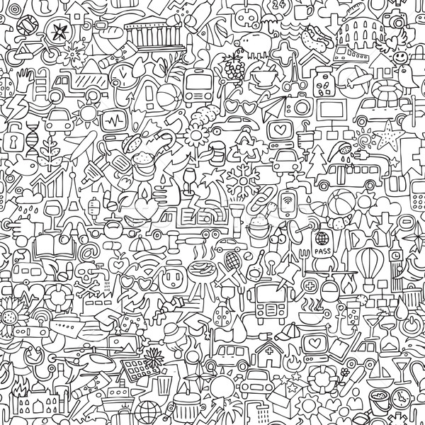 Foto stock: Símbolos · preto · e · branco · mini · rabisco · desenhos