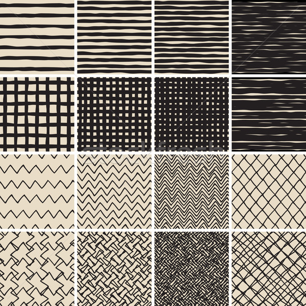 Basic Doodle Seamless Pattern Set No.2 in black and white Stock photo © VOOK