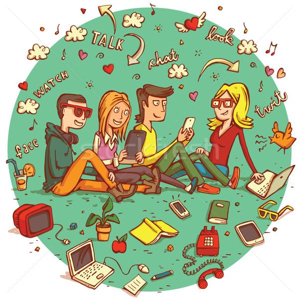 Telecommunicatie mensen vier tieners verschillend objecten Stockfoto © VOOK