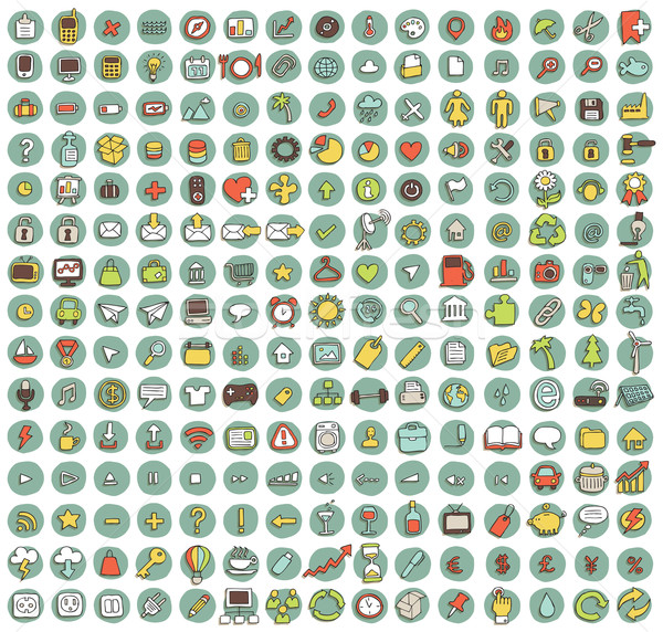 Collection of 225 web and mobile doodled icons  Stock photo © VOOK