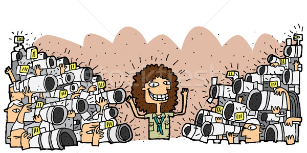Famous character surrounded by crowd of paparazzi Stock photo © VOOK