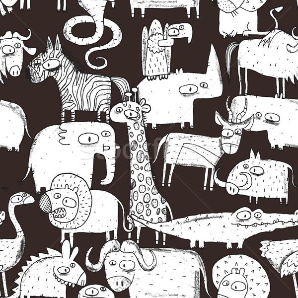 Foto stock: Africano · animais · colagem · rabisco · desenhos