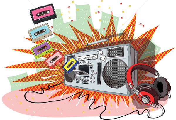 Retro Music Composition with boom-box, headphones and tapes  Stock photo © VOOK