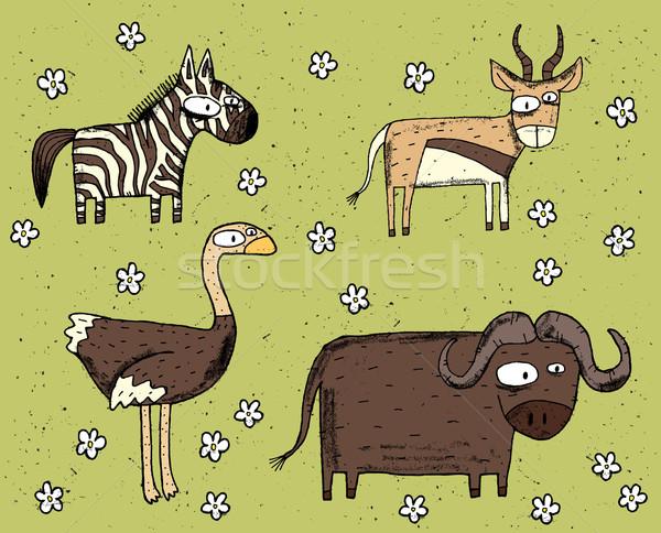 Hand drawn grunge illustration set of zebra, antelope, ostrich a Stock photo © VOOK