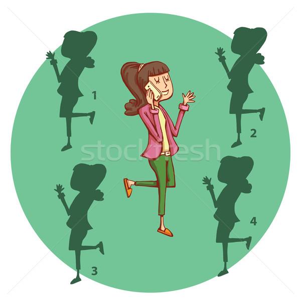 Genç kız telefon gölge oyun çözüm bulmak Stok fotoğraf © VOOK