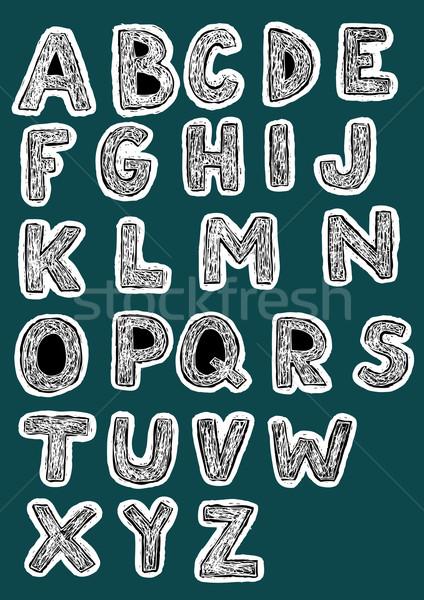Bold Woodcut Font Set  Stock photo © VOOK