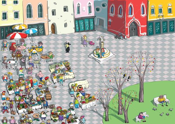 Vibráló város tér rajz illusztráció eps10 Stock fotó © VOOK