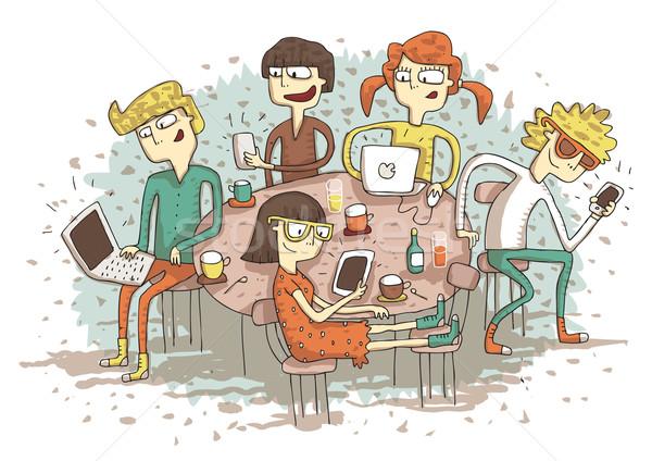 Globális falu rajz csoport fiatalok játszik Stock fotó © VOOK