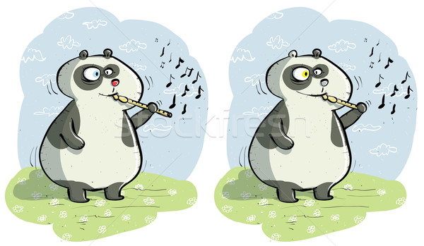 Panda with Flute Differences Visual Game Stock photo © VOOK