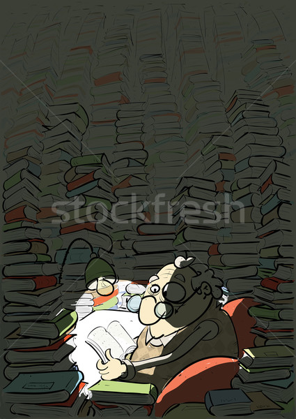 человека обучения книжный червь комнату полный книгах Сток-фото © VOOK