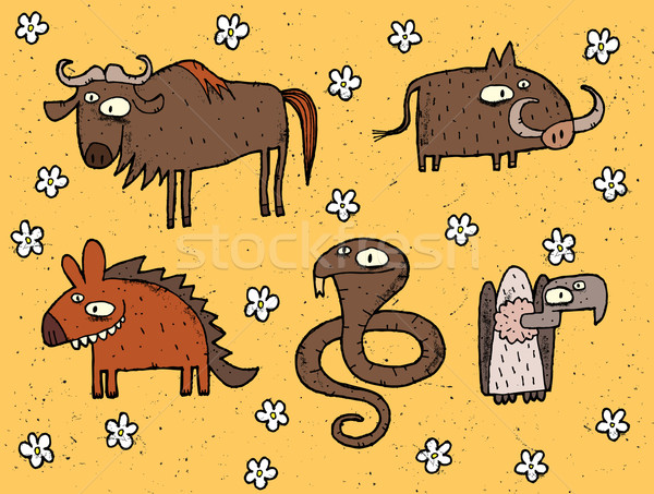 Kézzel rajzolt grunge illusztrációk szett hiéna kobra Stock fotó © VOOK