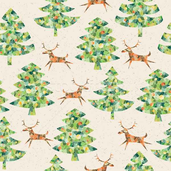 Natal árvores floresta rena Foto stock © VOOK