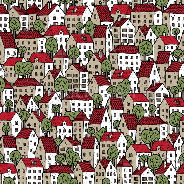 City seamless pattern in colours with trees Stock photo © VOOK