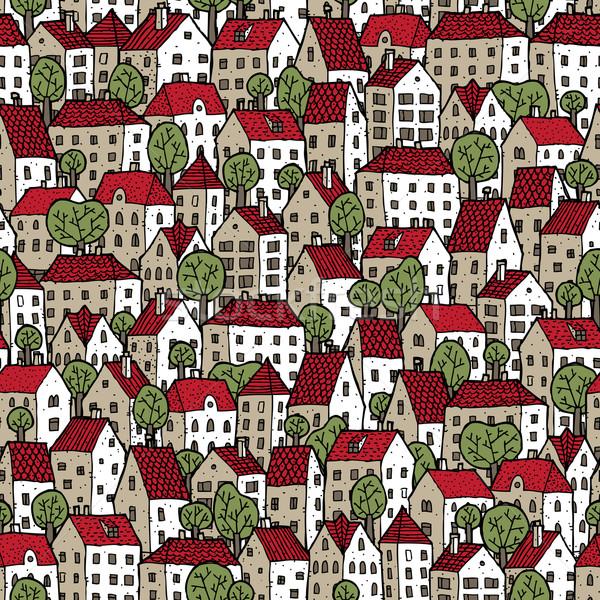 şehir renkler ağaçlar tekrarlayan doku Stok fotoğraf © VOOK