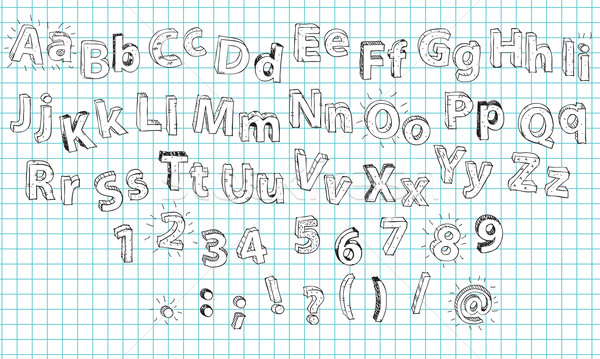 Hand Drawn 3D Bold Alphabet ABC Stock photo © VOOK
