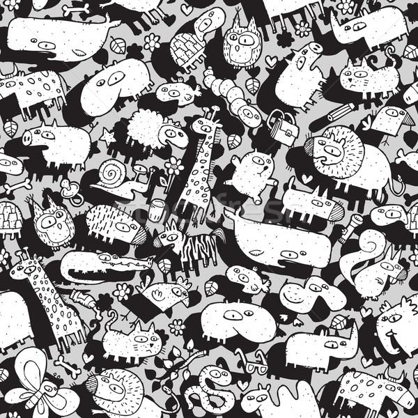 Animais objetos colagem rabisco desenhos Foto stock © VOOK