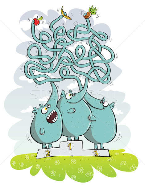 Elephants and fruits Maze game  Stock photo © VOOK
