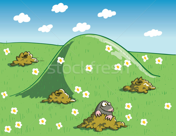Mole and Molehills on Green Landscape with Flowers Stock photo © VOOK