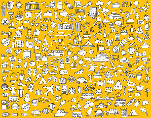 Big doodled travel and tourism icons collection Stock photo © VOOK
