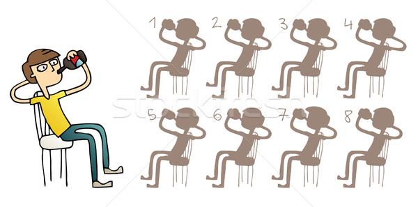 Boy Drinking Shadows Visual Game Stock photo © VOOK