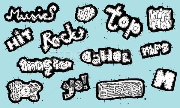 Musical znaki kolekcja czarno białe niebieski ilustracja Zdjęcia stock © VOOK