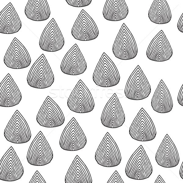 Eső cseppek végtelen minta feketefehér kézzel rajzolt tinta Stock fotó © VOOK