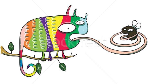 Chameleon latać cartoon odizolowany biały ilustracja Zdjęcia stock © VOOK