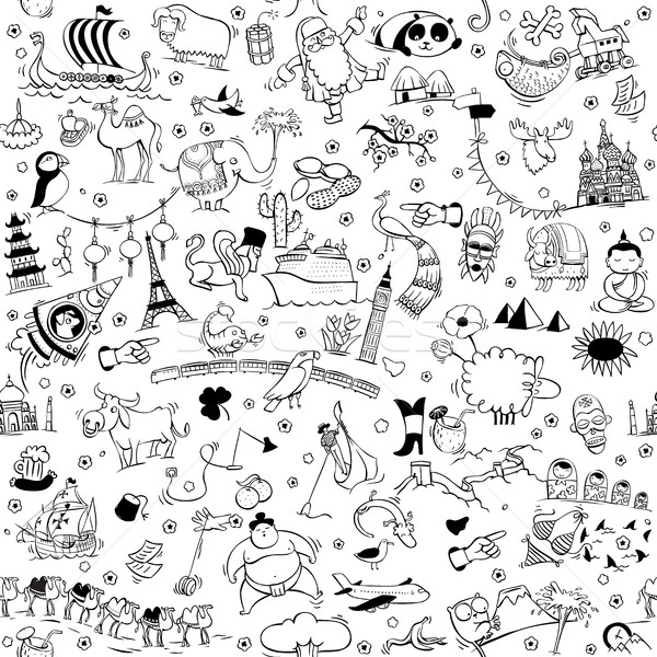 Around the World seamless pattern in black and white Stock photo © VOOK