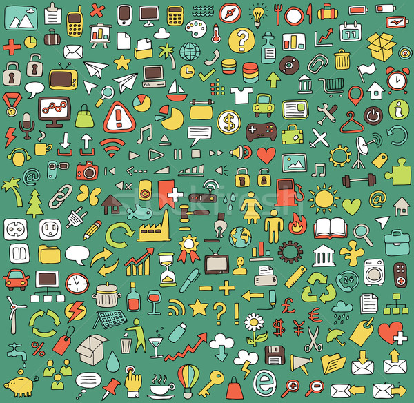 Big doodled web and mobile icons collection Stock photo © VOOK