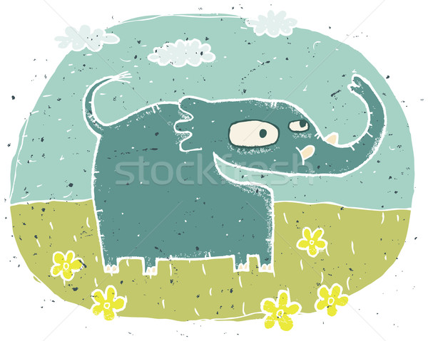 Hand drawn grunge illustration of cute elephant on background wi Stock photo © VOOK