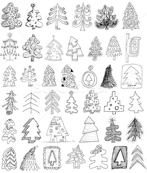 Рождества деревья болван коллекция набор 40 Сток-фото © VOOK