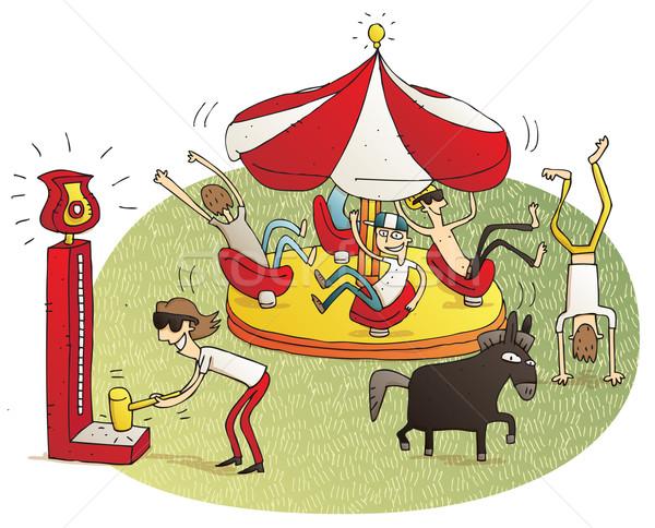 Young people having fun in fun fair  Stock photo © VOOK