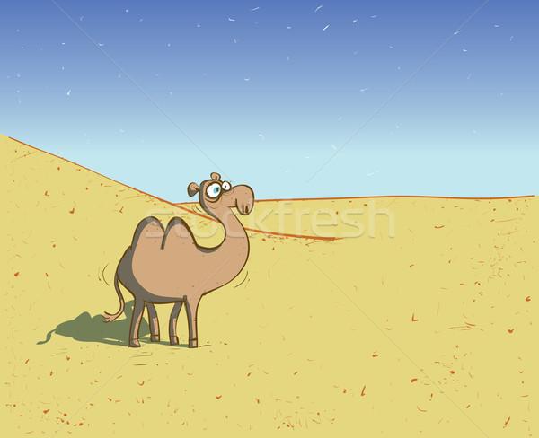 Teve sivatag tájkép illusztráció eps10 vektor Stock fotó © VOOK