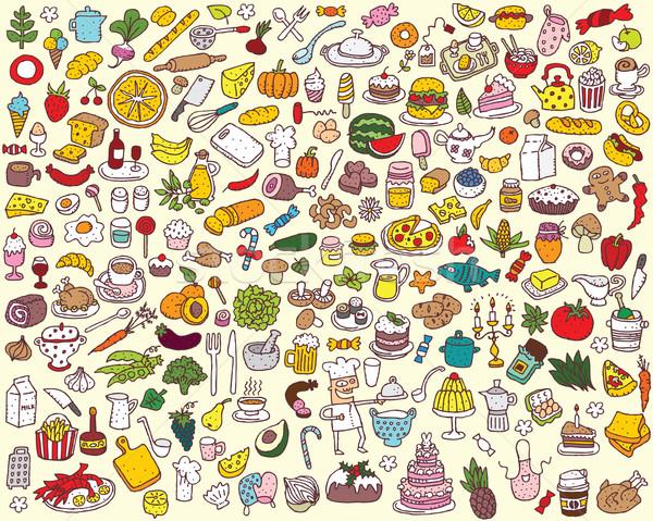 большой продовольствие кухне коллекция небольшой рисованной Сток-фото © VOOK