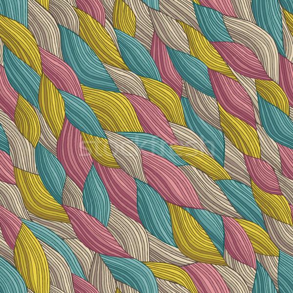 Funky hullámok végtelen minta színek kézzel rajzolt illusztráció Stock fotó © VOOK