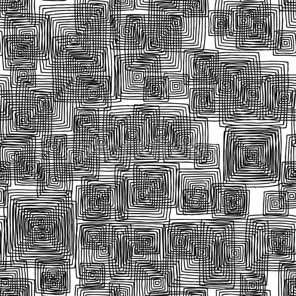 прямоугольный черно белые рисованной чернила иллюстрация Сток-фото © VOOK
