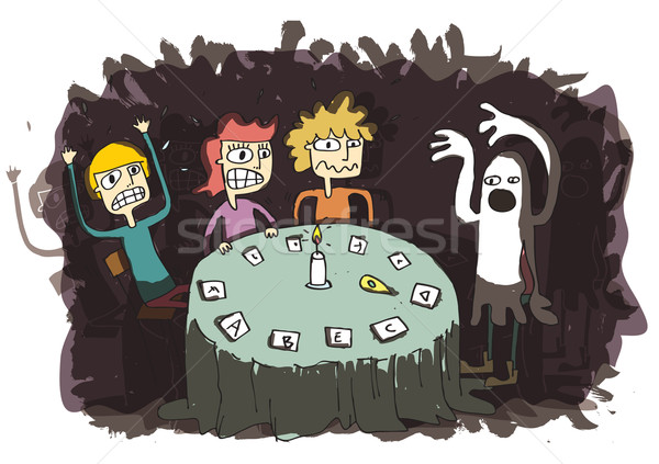 Ghost Funny Cartoon with teenagers communicating to other world Stock photo © VOOK