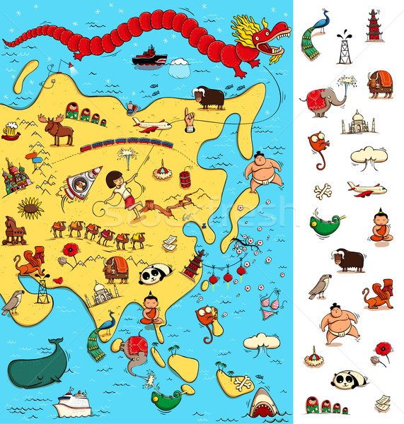 Map of Asia: Big Visual Game. Locate isolated items on a map.  Stock photo © VOOK