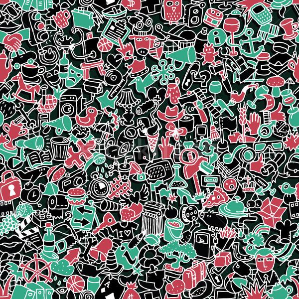 Stock fotó: Ikonok · végtelen · minta · mini · firka · rajzok · illusztráció
