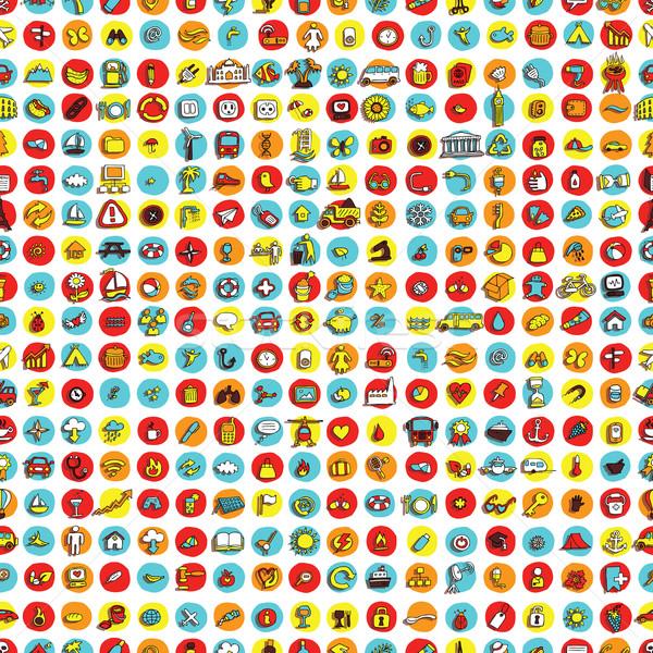 ícones círculos mini rabisco desenhos Foto stock © VOOK