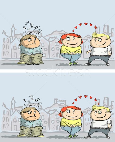 Jaloezie verschillen spel kinderen illustratie eps10 Stockfoto © VOOK