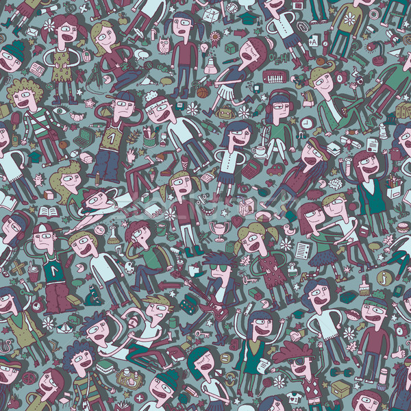 Singing children and school objects seamless pattern Stock photo © VOOK
