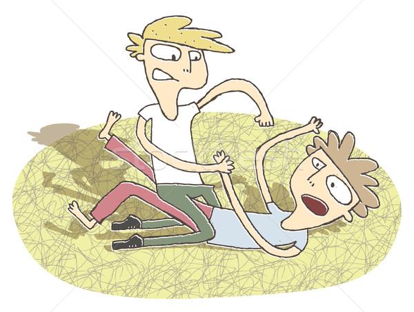 Klein illustratie twee jongens vechten eps10 Stockfoto © VOOK