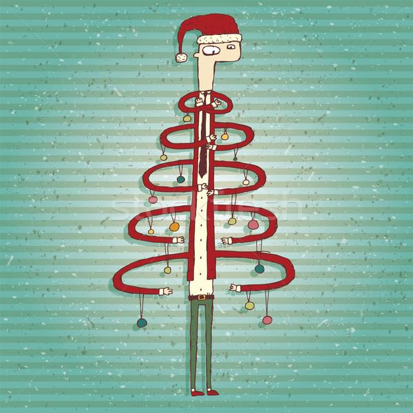 смешные человека рождественская елка изолированный группа Сток-фото © VOOK
